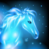 Magical blue horse — Stock Photo