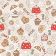 Seamless pattern with sweets — Stock Vector