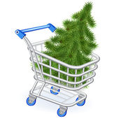 Christmas tree in a shopping cart — Vettoriale Stock