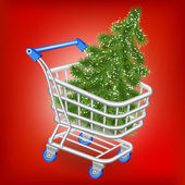 Christmas tree in a shopping cart — Stock Vector