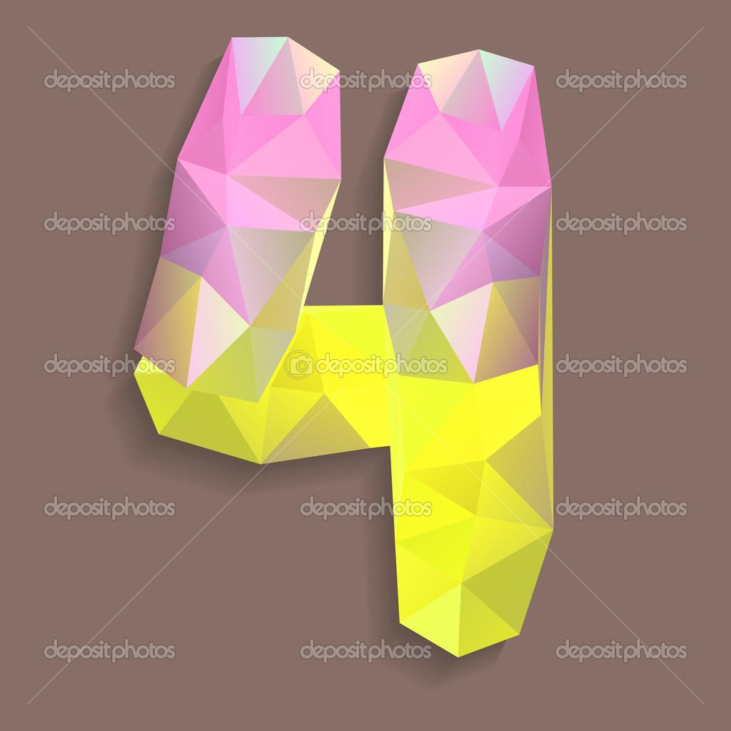 几何水晶数字 4 — 图库矢量图像08