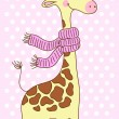 Giraffe with a scarf — Stock Vector