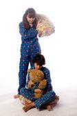 Cirls i poduszki — Zdjęcie stockowe