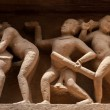 Panorama of erotic bas relief, Khajuraho, India — Stock Photo