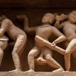 Panorama of erotic bas relief, Khajuraho, India — Stock Photo