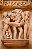 Erotic sculptures, Khajuraho, India — Foto Stock