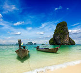 Long tail boats on beach, Thailand — Stock Photo