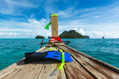 Snorkeling set on boat — Stock Photo
