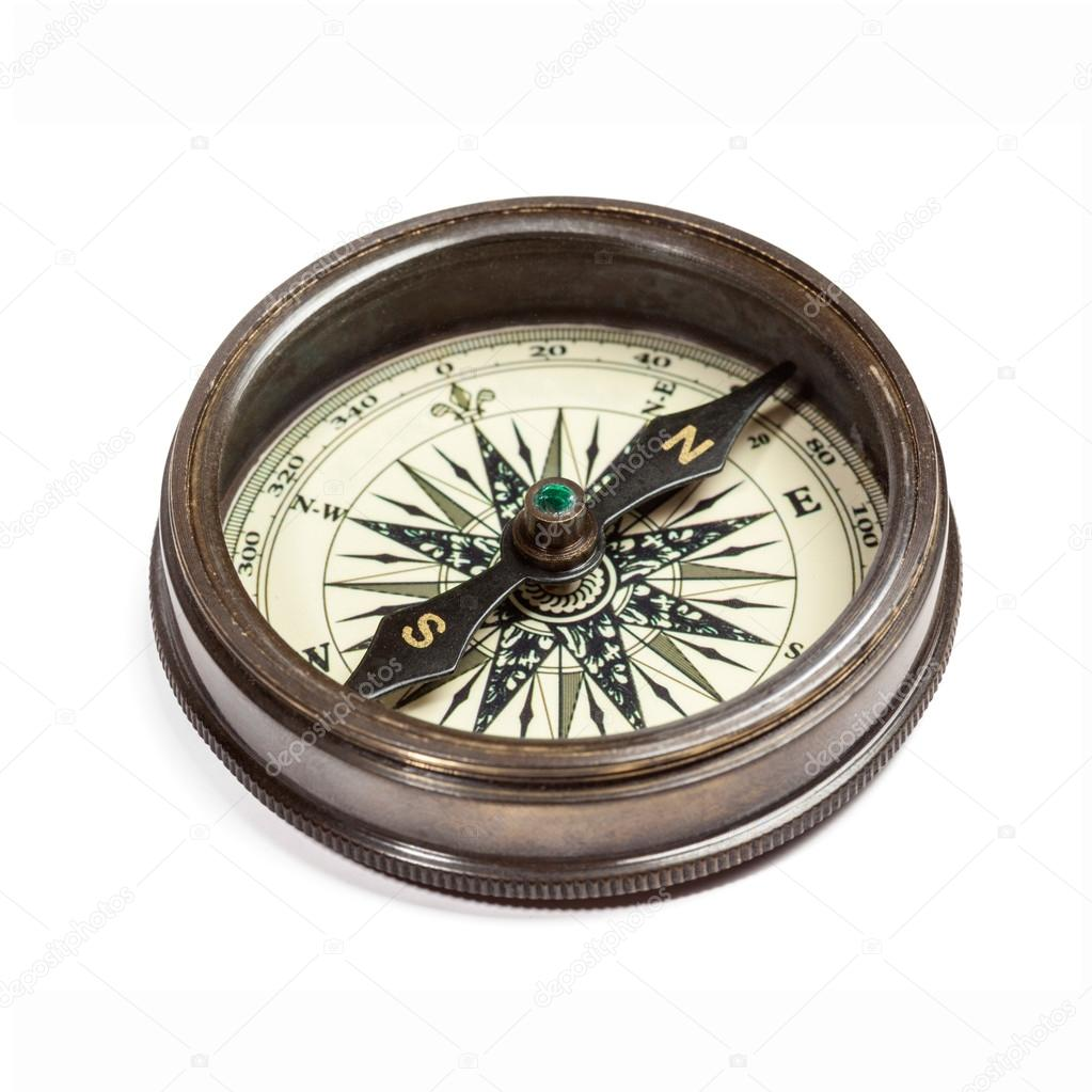 Old vintage retro golden compass isolated. Top view — Stock Photo #13336209