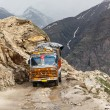 Stock Photo: Manali-Leh road in IndiHimalayas with lorry