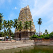 图库照片: Gopura (tower) and temple tank of Lord Bhakthavatsaleswarar Temp