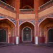 Arch with carved marble window. Mughal style. Humayun's tomb, De - Stock Photo