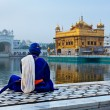 Unidentifiable Seekh Nihang warrior meditating at Sikh temple Ha - Stock Photo