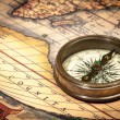 Stock Photo: Old vintage compass on ancient map