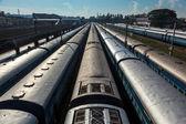Trains at train station. Trivandrum, Kerala, India — Stock Photo