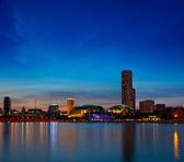 Singapore skyline evening — Stock Photo