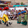 Young dancers in traditional Ladakhi Tibetan costumes perform fo - Stock Photo