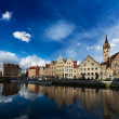 Ghent canal and Graslei street. Ghent, Belgium — Stock Photo