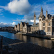 Ghent canal and Graslei street. Ghent, Belgium — Stock Photo #25475767