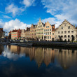 Stock Photo: Ghent canal and Graslei street. Ghent, Belgium