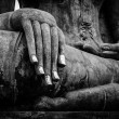 Buddha statue hand close up detail — Stock Photo