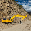Road reconstruction in mountains Himalayas — Stock Photo #25475901