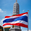 Thailand flag and Buddhist temple — Stock Photo