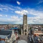 Постер, плакат: Saint Bavo Cathedral and Sint Baafsplein view from Belfry Ghen