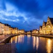 Stock Photo: Ghent canal, Graslei and Korenlei streets in the evening. Ghent,