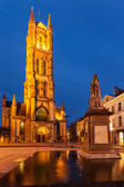 Saint Bavo Cathedral in the evening. Sint-Baafsplein, Ghent, Bel — Stock Photo