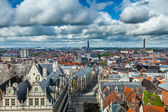 Aerial view of Ghent from Belfry. Ghent, Belgium — Stock Photo
