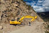 Road reconstruction in mountains Himalayas — Stock Photo