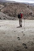 Mountaineer trekker walking in Himalayas — Stock Photo