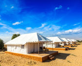 Zeltlager in thar wüste. jaisalmer, rajasthan, indien. — Stockfoto