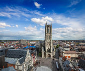 Saint Bavo Cathedral and Sint-Baafsplein, view from Belfry. Ghen — Stock Photo