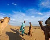 Dos camelleros (conductores de camellos) con camellos en las dunas de deser thar — Foto de Stock