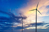 Wind generator turbines sihouettes on sunset — Stock Photo