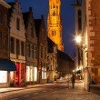 Bruges street in night, Belgium — Foto Stock