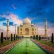 Taj Mahal on sunrise sunset — Stock Photo