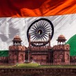 Red Fort against Indian national flag. Delhi, India — Stock Photo