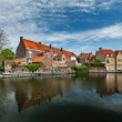 Canal and medieval houses — Stock Photo