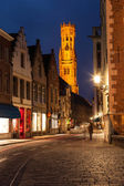 Bruges street in night, Belgium — Stock Photo