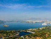 Aerial view of Lake Pichola with Lake Palace — Stock Photo