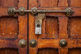 Latch with padlock on door — Stock Photo