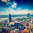 Aerial view of Riga center from St. Peter's Church, Riga, Latvia — Stock Photo