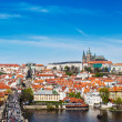 Panorama of Prague: Mala Strana, Charles bridge and Prague castle — Stock Photo #44919929