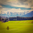 German idyllic pastoral countryside in spring with Alps — Stock Photo #44919949