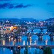 Panoramic view of Prague bridges over Vltava river — Stock Photo #44919993