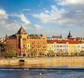 Prague Stare Mesto embankment view from Charles bridge — Stockfoto