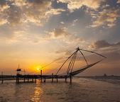 Chinese fishnets on sunset. Kochi, Kerala, India — Stock Photo